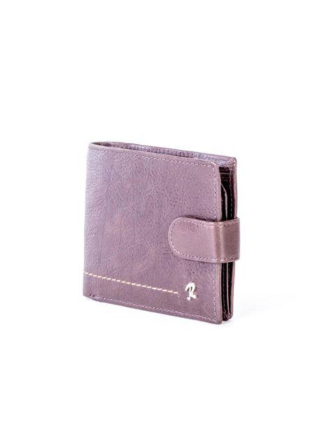 Brązowy portfel ze skóry naturalnej na zatrzask                              zdj.                              3