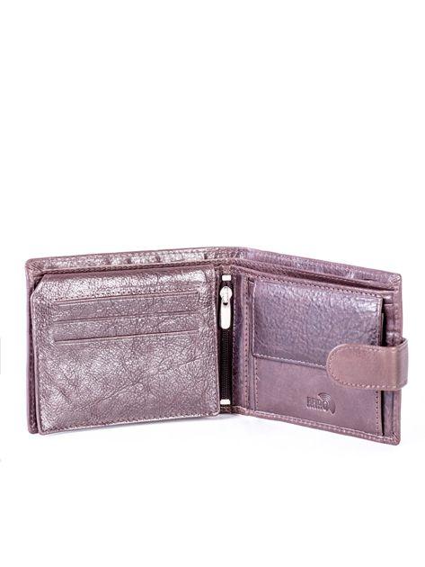 Brązowy portfel ze skóry naturalnej na zatrzask                              zdj.                              4