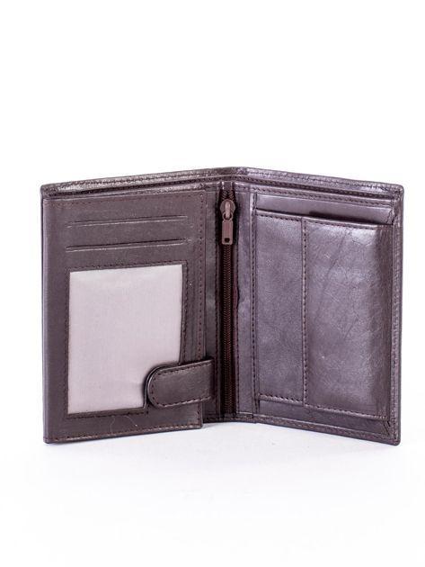 Brązowy portfel ze skóry naturalnej w paski                              zdj.                              4