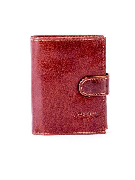 Brązowy portfel ze skóry naturalnej z klapką                              zdj.                              1