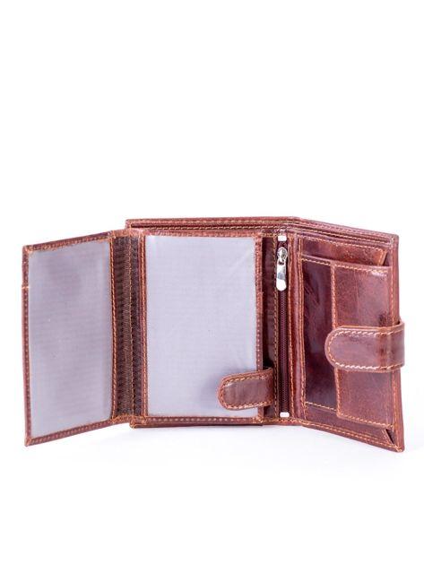 Brązowy portfel ze skóry naturalnej z klapką                              zdj.                              5