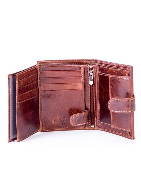 Brązowy portfel ze skóry naturalnej z klapką                              zdj.                              6