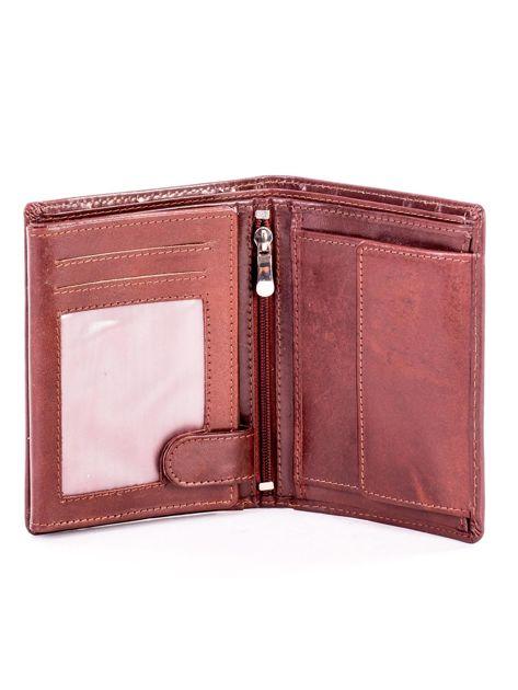 Brązowy portfel ze skóry naturalnej z napisem                              zdj.                              4