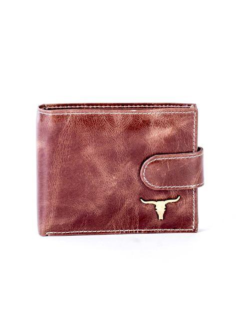 Brązowy portfel ze skóry naturalnej z przetarciami                              zdj.                              1