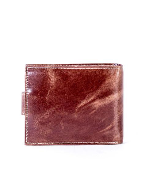 Brązowy portfel ze skóry naturalnej z przetarciami                              zdj.                              2