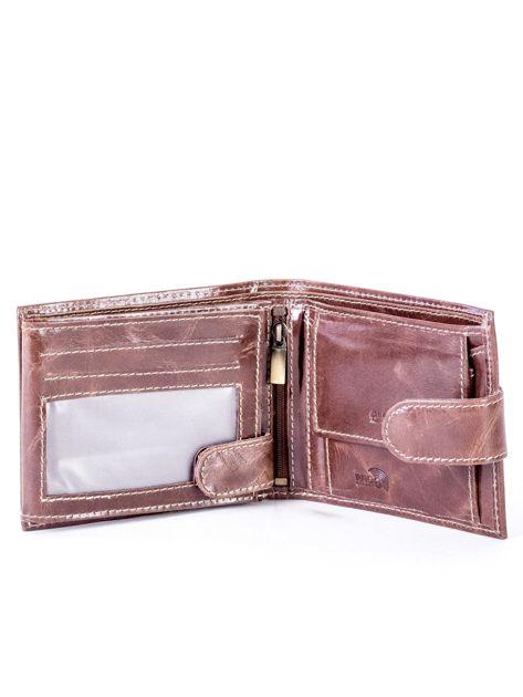 Brązowy portfel ze skóry naturalnej z przetarciami                              zdj.                              4