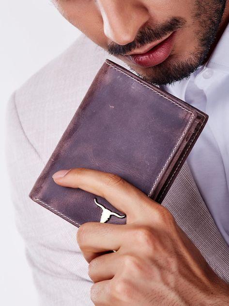Brązowy prostokątny portfel męski                              zdj.                              1