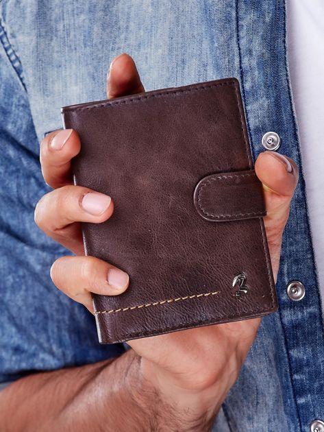 Brązowy rozkładany portfel ze skóry                              zdj.                              2