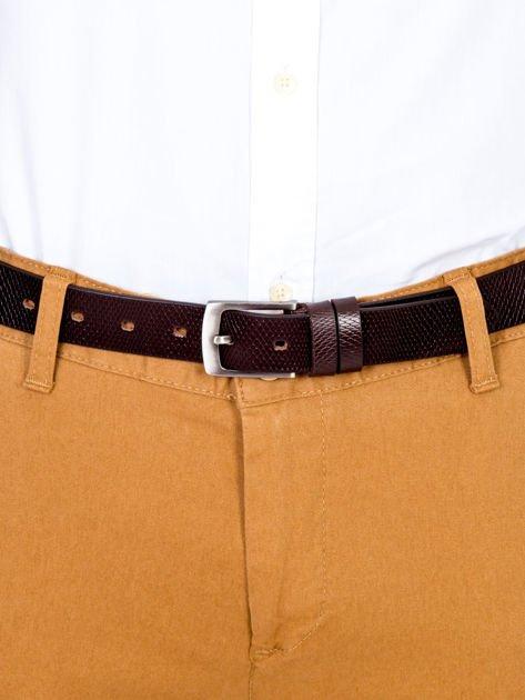 Brązowy skórzany pasek męski w tłoczony wzór                              zdj.                              1