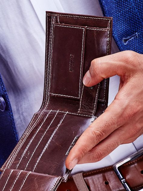 Brązowy skórzany portfel męski                              zdj.                              3