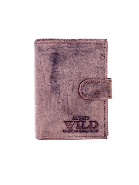 Brązowy skórzany portfel męski na zatrzask