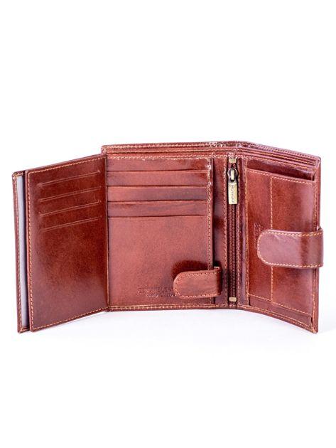 Brązowy skórzany portfel na zatrzask                              zdj.                              6