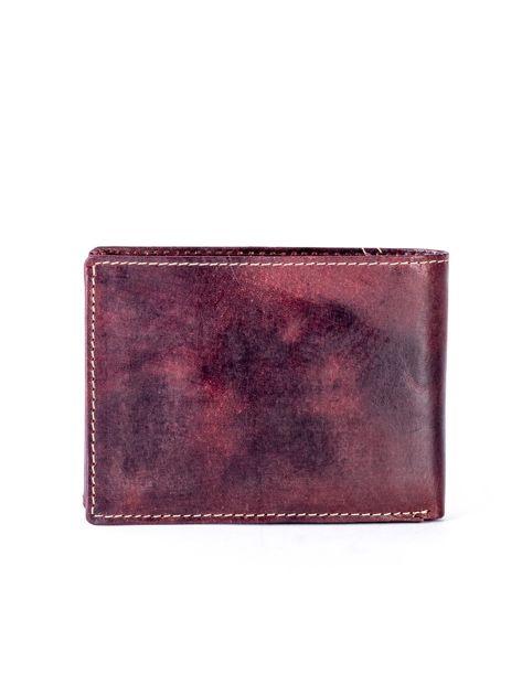 Brązowy skórzany portfel z symetrycznymi przeszyciami                              zdj.                              2