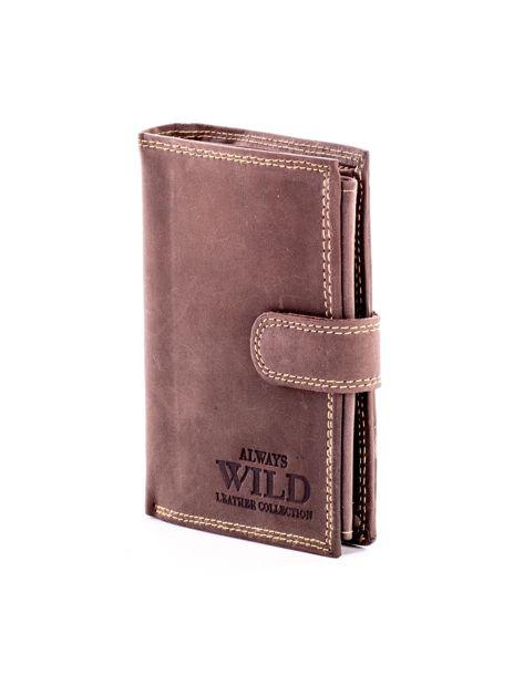 Brązowy skórzany portfel z tłoczonym napisem                              zdj.                              3