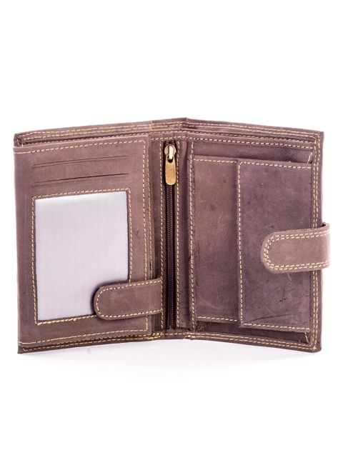 Brązowy skórzany portfel z tłoczonym napisem                              zdj.                              4