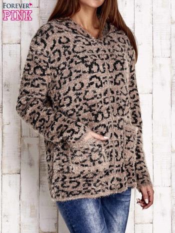 Brązowy sweter zapinany na suwak                                  zdj.                                  3