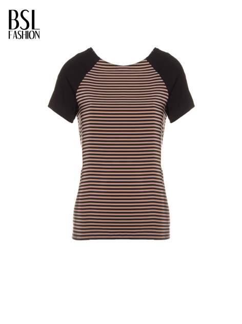 Brązowy t-shirt w paski z reglanowymi rękawami                                  zdj.                                  2