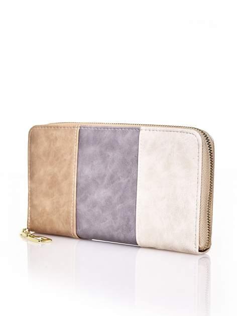 Brązowy trójkolorowy portfel z uchwytem                                  zdj.                                  2