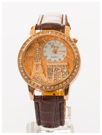 Brązowy zegarek damski z cyrkoniami na skórzanym pasku                                  zdj.                                  2