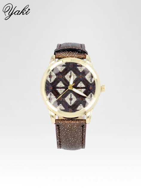 Brązowy zegarek damski ze złotą kopertą i etno tarczą                                  zdj.                                  1