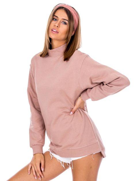 Brudnoróżowa dresowa bluza z półgolfem                              zdj.                              3