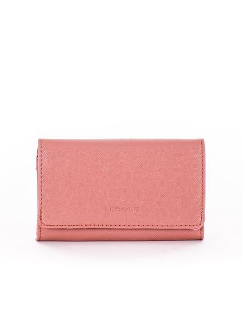 Brudnoróżowy portfel damski z ekoskóry