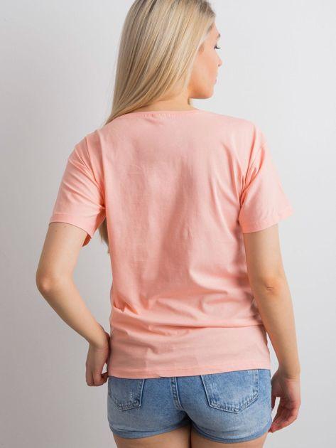 Brzoskwiniowy t-shirt z aplikacją 3D                              zdj.                              2