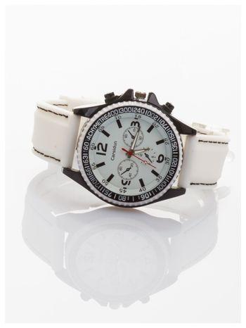 CARSIDUN Biały męski zegarek z ozdobnym chronometrem i tachometrem                                  zdj.                                  2