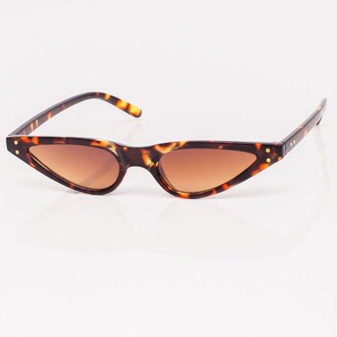 CAT EYE Brązowe damskie okulary przeciwsłoneczne KOCIE OCZY                              zdj.                              2