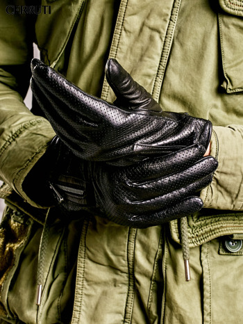 CERRUTI Czarne rękawiczki męskie z suwakami                                  zdj.                                  1