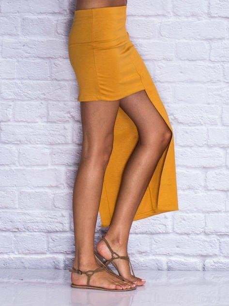 Camelowa asymetryczna spódnica                              zdj.                              3