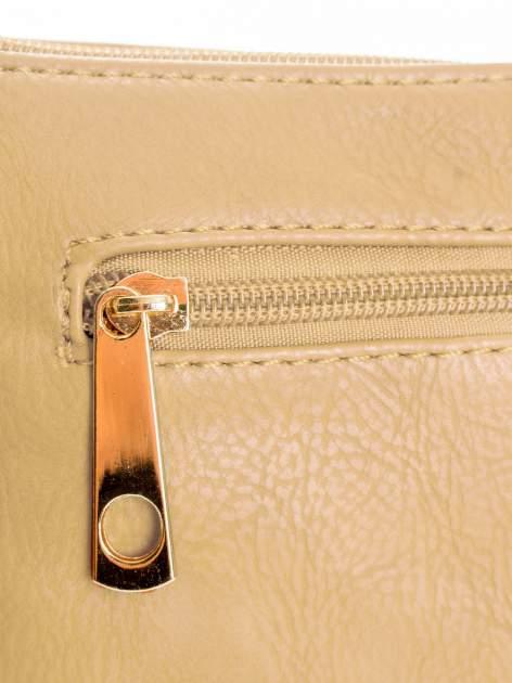 Camelowa kopertówka z dżetami motyw wąsów                                  zdj.                                  5