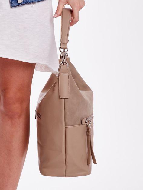 Camelowa torba z łączonych materiałów                              zdj.                              4