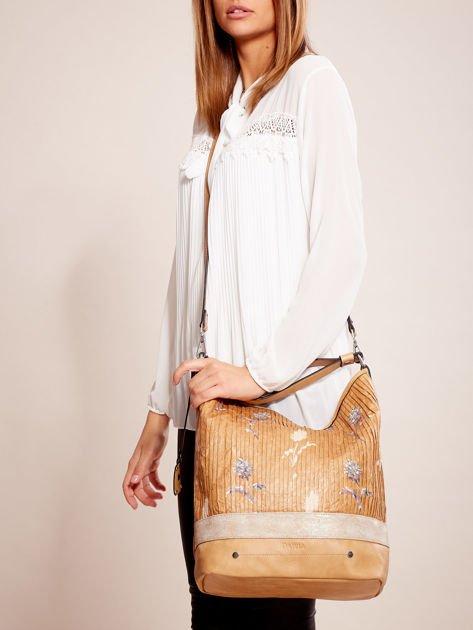 Camelowa torba z łączonych materiałów w stylu japońskim                              zdj.                              1