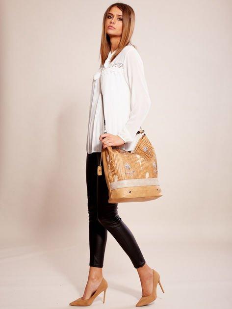 Camelowa torba z łączonych materiałów w stylu japońskim                              zdj.                              4