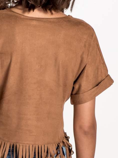 Camelowa zamszowa bluzka z frędzlami                                  zdj.                                  5