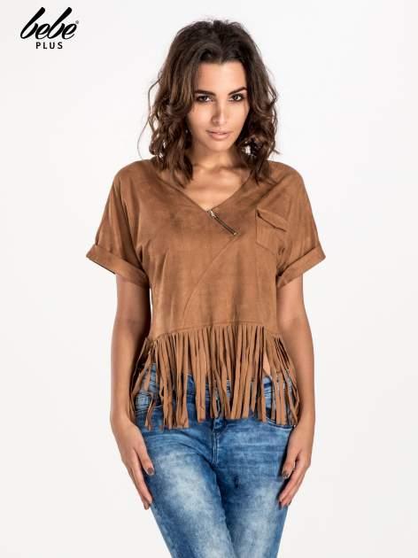 Camelowa zamszowa bluzka z frędzlami                                  zdj.                                  1