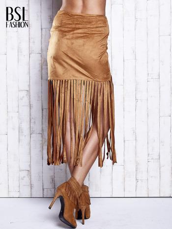 Camelowa zamszowa spódnica z frędzlami                                  zdj.                                  2