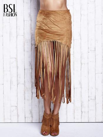 Camelowa zamszowa spódnica z frędzlami                                  zdj.                                  1