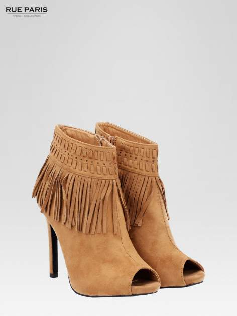 Camelowe botki faux suede Suzie open toe z frędzlami w stylu boho                                  zdj.                                  3