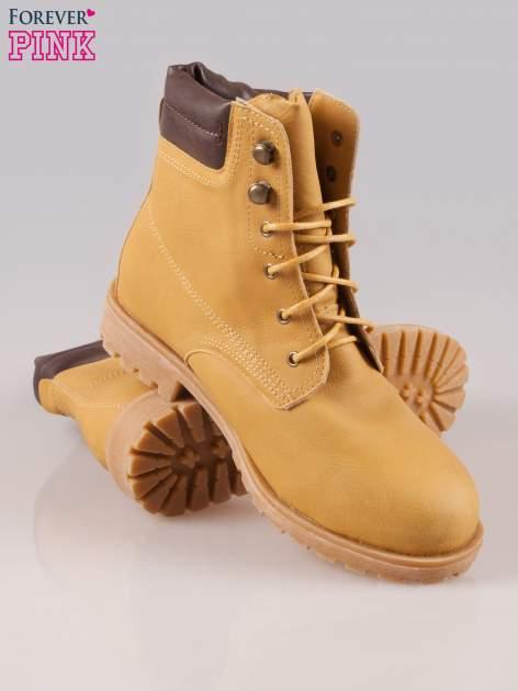 Camelowe buty trekkingowe damskie typu traperki                                  zdj.                                  4