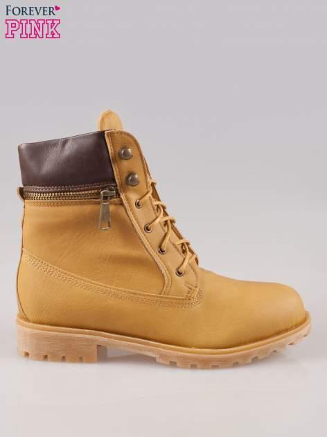 Camelowe buty trekkingowe damskie typu traperki z zamkiem