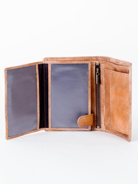Camelowy cieniowany portfel ze skory naturalnej                              zdj.                              5