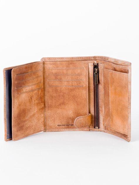 Camelowy cieniowany portfel ze skory naturalnej                              zdj.                              6