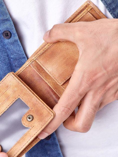 Camelowy portfel męski ze skóry naturalnej                              zdj.                              4