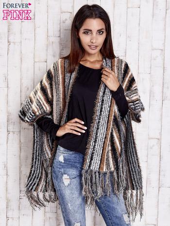 Camelowy sweter poncho z frędzlami                                   zdj.                                  1