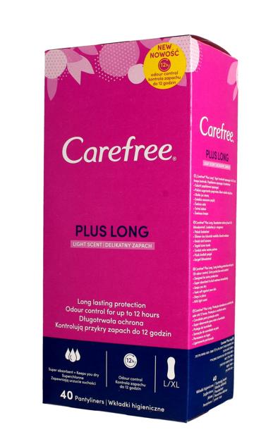 """Carefree Plus Long Wkładki higieniczne Light Scent - delikatny zapach 1op.-40szt"""""""