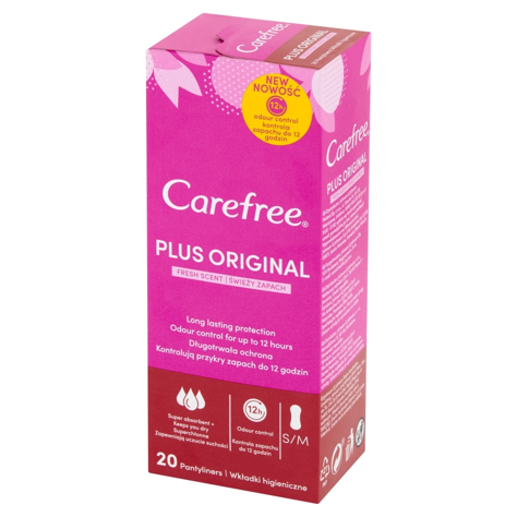 """Carefree Plus Original Wkładki higieniczne Fresh Scent - świeży zapach 1op.-20szt"""""""