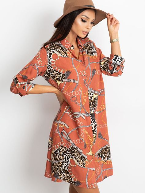 Ceglasta sukienka Gracia                              zdj.                              3