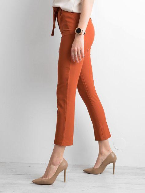 Ceglaste spodnie z wiązaniem                              zdj.                              3